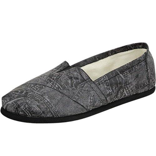 Women's round toe flats shoes faux leather black size 6.5