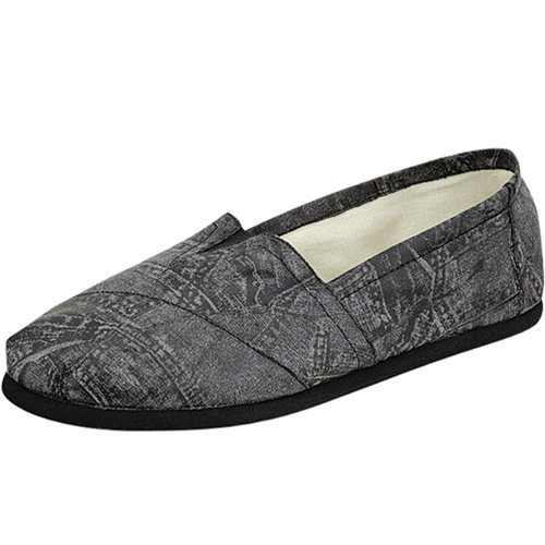 Women's round toe flats shoes faux leather black size 7