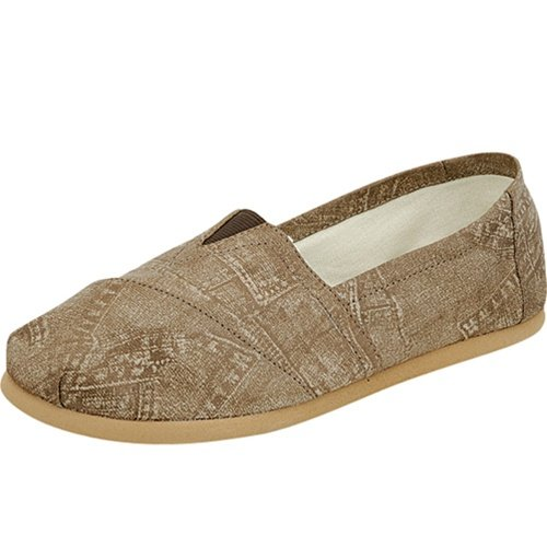 Women's round toe flats shoes faux leather khaki size 7