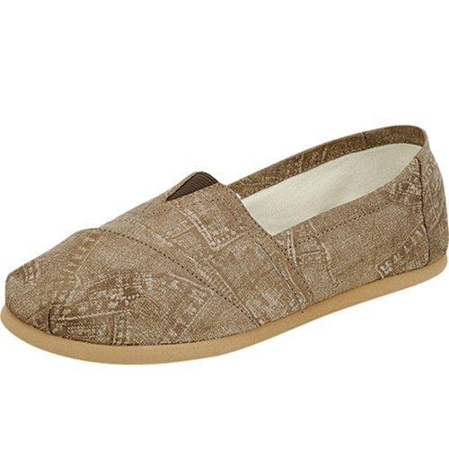 Women's round toe flats shoes faux leather khaki size 7.5