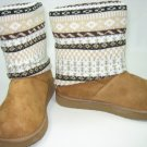 Qupid Eskimo style faux suede sweater top fleece lined ankle boots camel size 6.5