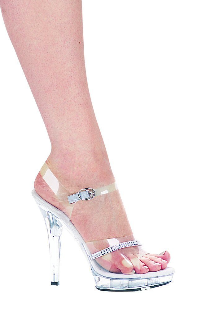 Ellie M-Jewel platform strappy 5 inch high heel sandals clear rhinestones shoes size 8