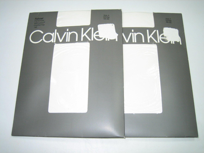 Calvin Klein fishnet textured control top pantyhose two pair lot white size A