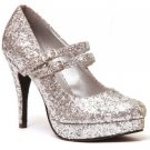 Ellie 421-jane-G Mary jane platform pumps high heels shoes silver glitter size 9