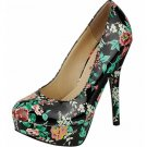 Platform 5.5 inch stiletto high heel pumps shoes black patent floral size 9