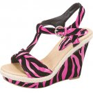Strappy platform sandals 4.5 inch wedge high heel women's shoes fuchsia zebra print size 6