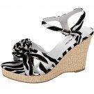 Strappy espadrille platform sandals 4 inch wedge high heel women's shoes black silver zebra size 6