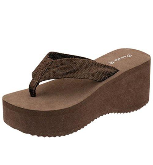 0079383419e05 Women s lightweight platform foam flip flops thong beach sandals shoes  brown size 10