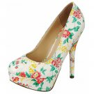 Platform 5.5 inch stiletto high heel pumps shoes white patent floral size 7.5