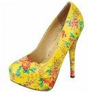 Size 7.5 platform 5.5 inch stiletto high heel pumps shoes yellow patent floral