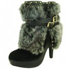Qupid Luxe platform faux fur suede 5 inch high heel fashion ankle boots black size 6.5