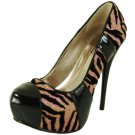 Qupid luxe platform 5 1/4 inch high heel pumps zebra glitter evening party shoes size 6.5