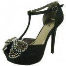 Qupid glitter-11 platform open toe T-strap 5 inch heels satin prom rhinestone pumps black size 7