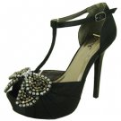 Qupid platform open toe T-strap 5 inch heels party evening rhinestone sandals black size 9