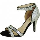 Qupid dressy prom wedding 3.75 inch high heel strappy sandals silver glitter size 6.5