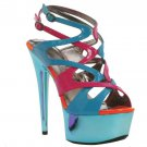 Ellie 609-Guava strappy metallic platform 6 inch stiletto color blocking sandal size 9