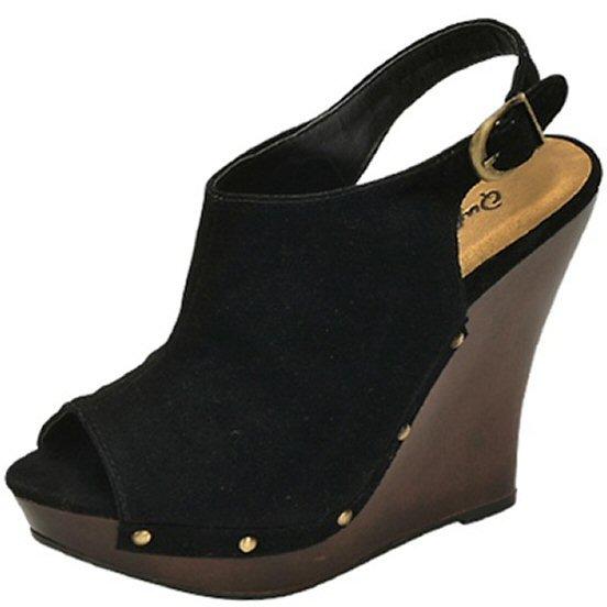 Qupid Loraine-19 open toe platform wedge faux suede slingback pumps black size 6.5