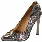Qupid Solo-03 4.5 inch high heel pumps pewter snake hologram dance party prom shoes size 10