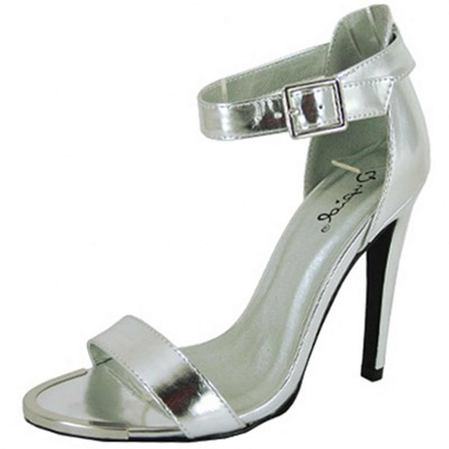 Qupid Interest-10 single band 4.75 inch stiletto heel sandals prom party  silver size 9