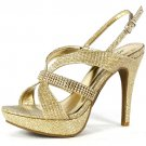 Marichi Mani Jealyn-72 platform 4.75 inch heel glitter rhinestone gold prom sandals size 6.5