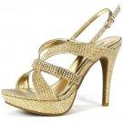 Marichi Mani Jealyn-72 platform 4.75 inch heel glitter rhinestone gold prom sandals size 10