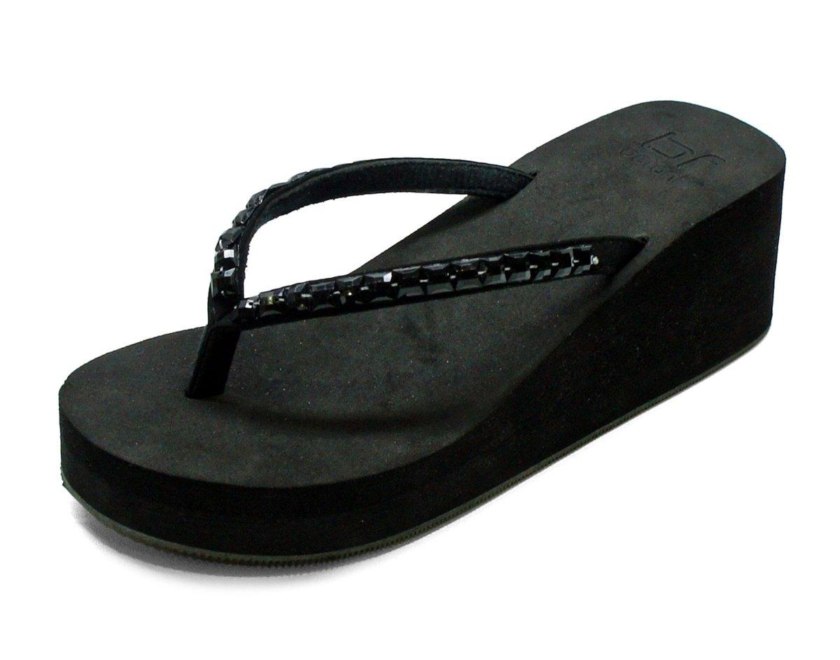 a71ebfbc871b3 Betani Evelyn-4 platform EVA foam flip flop thong beach wedge sandals black  size 8.5