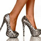 Highest Heel kissable-11 platform 5.5 inch heels pumps silver leopard size 8