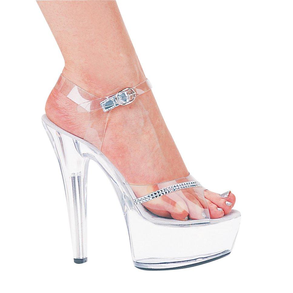 "Ellie 601-Jewel platform sandals 6"" spike heels shoes clear rhinestone size 9"