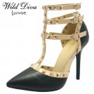 Diva Lounge Adora-55 rock stud strappy 4.5 inch stiletto high heel pumps shoes black size 8