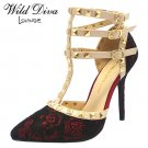 Diva Lounge Adora-55 rock stud strappy 4.5 inch stiletto high heel pumps shoes black wine size 7