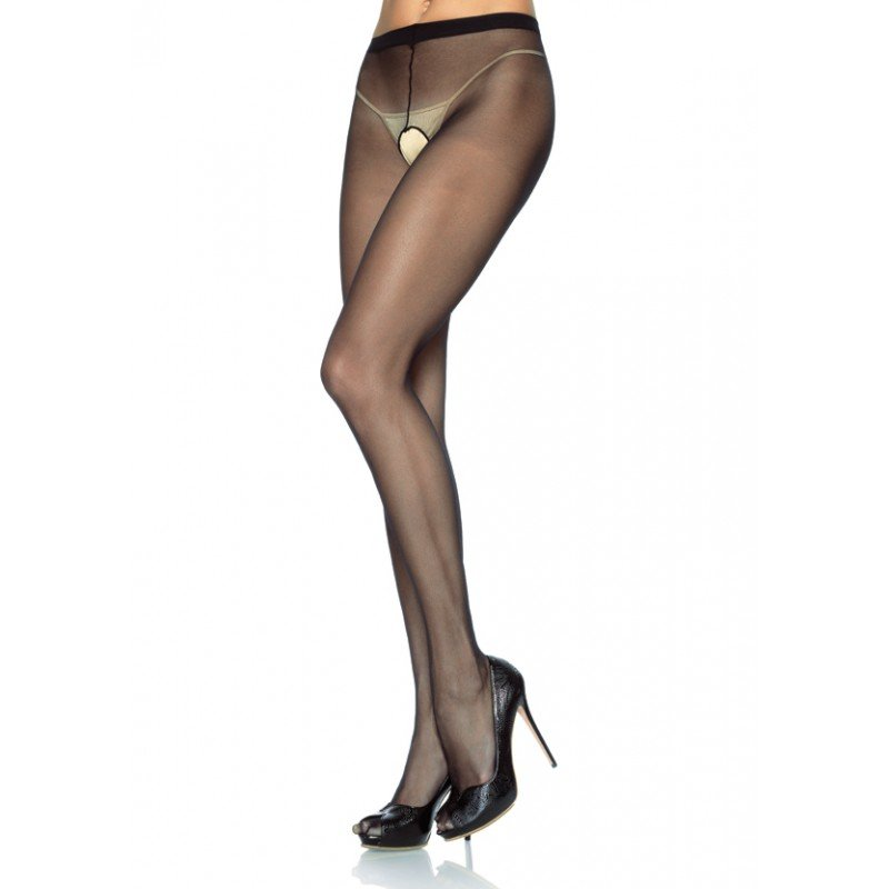 Leg Avenue sheer crotchless pantyhose black plus size, 1x-3x.