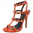 Wild Diva Bridget-74 sexy 5 inch stiletto high heel rock stud sandals orange snake size 7