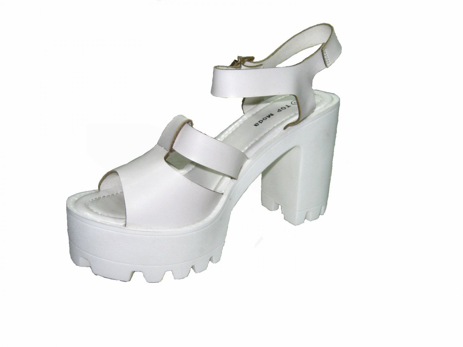 05a0690dad01 Top Moda Basic-9 platform lug sole chunky 4 inch high heel strappy sandals  white size 7.5