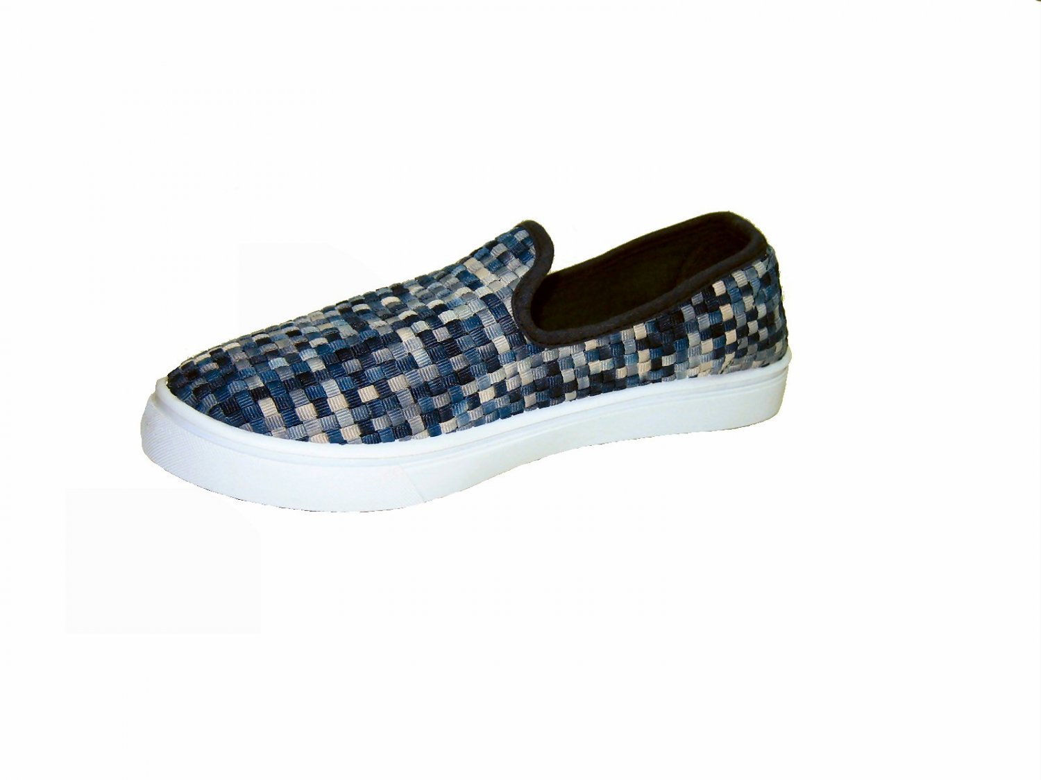 Top Moda AD-53 women's vegan slip on sneakers comfort flats shoes weave pattern navy multi size 5