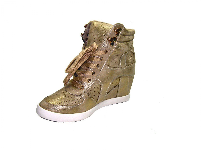 Top Moda Eric-9 high top 3 inch hidden wedge womens fashion sneakers vegan gold size 7