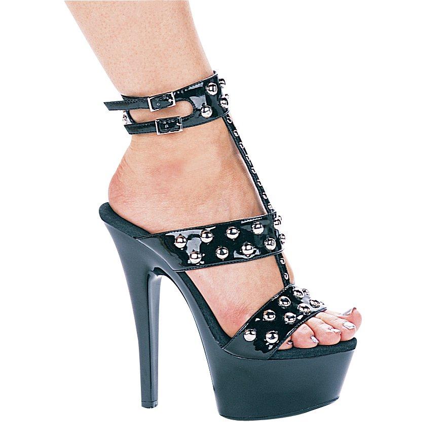 Ellie 601-Queen 6 inch heel strappy platform sandals black patent silver rivets size 10
