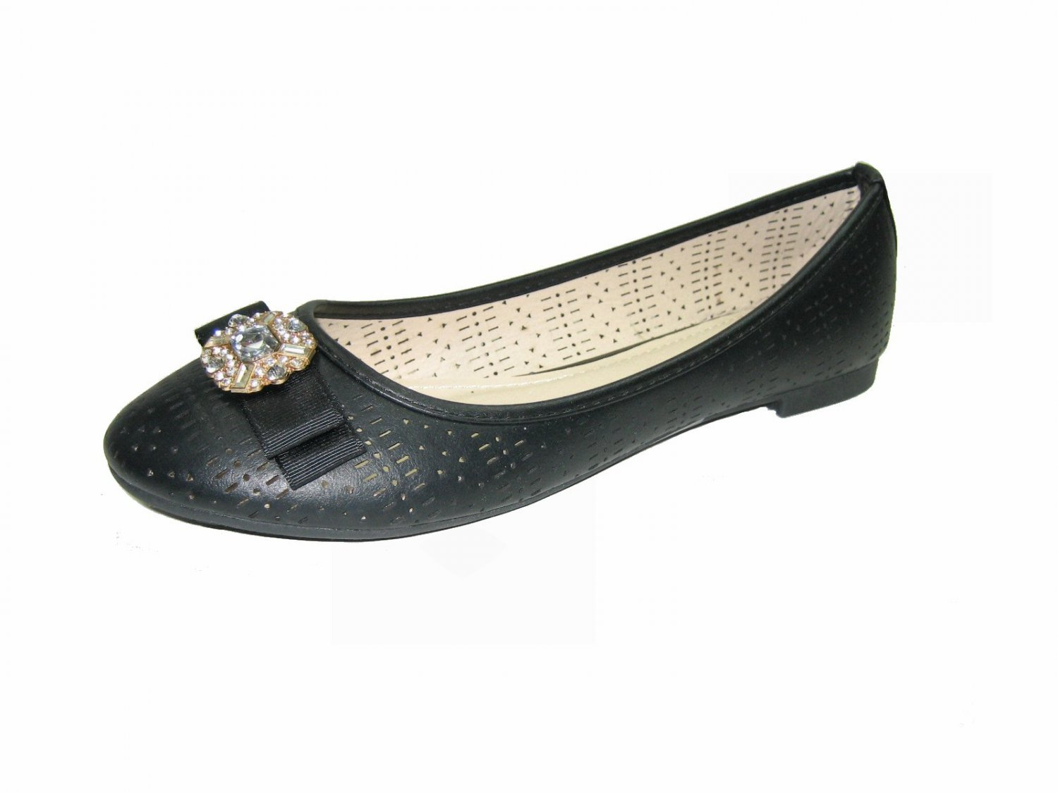 Top Moda SB-25 ballerina flats slip on black pumps rhinestone bejeweled bow toe shoes size 7