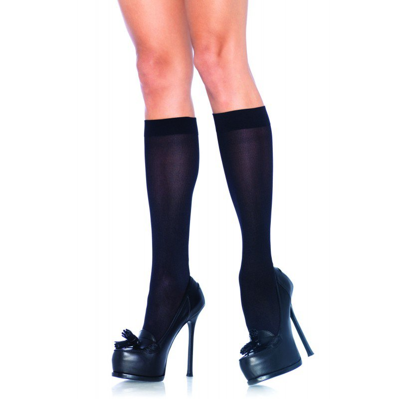 Leg Avenue 5572 ladies nylon opaque knee highs black one size