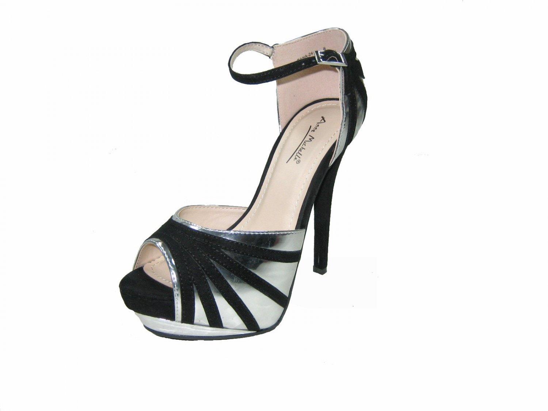 Anne Michelle Baha-24 platform stiletto 5.5 heel ankle strap open toe pumps silver size 9