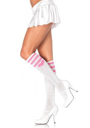 Leg Avenue 5598 ladies sweetheart athletic knee highs white pink stripes heart top one size