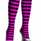 Leg Avenue 5577 ladies black pink striped knee highs one size