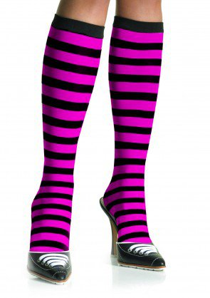 Leg Avenue 5577 ladies black pink striped knee highs one size