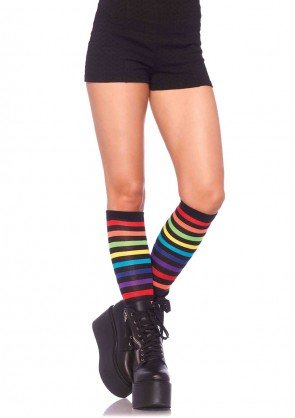 Leg Avenue 5601 ladies rainbow striped knee highs one size