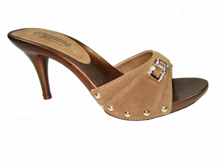 Blossom vote-56 one band slides mules 3.5 inch stiletto heel sandals vegan suede tan size 7.5