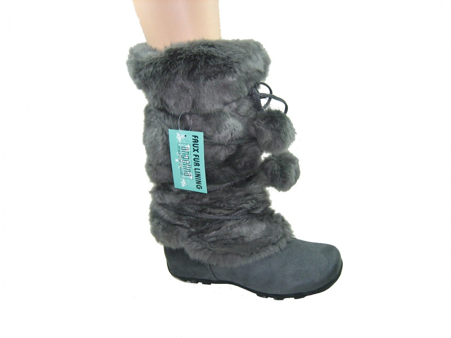 Blossom women's fashion gray faux suede mid-calf faux fur pom pom winter boots size 7