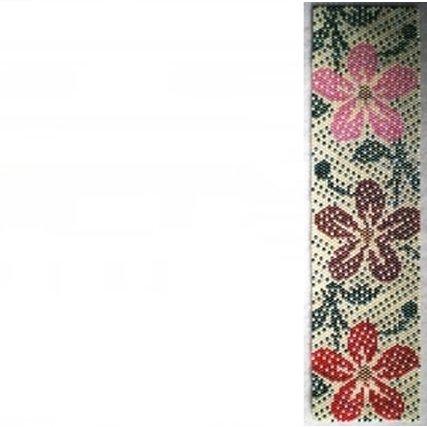 Hawaiian Print Colors Cuff Bracelet - 1 Drop Even Peyote Bead Pattern