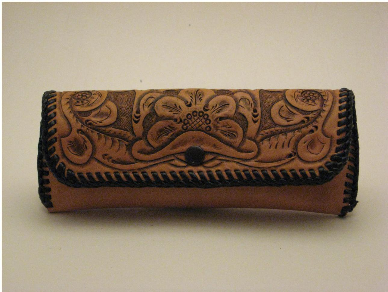 Eyeglass Case, Chestnut Tan, Brown Lacing, Handtooled Leather, Western Floral CA0001