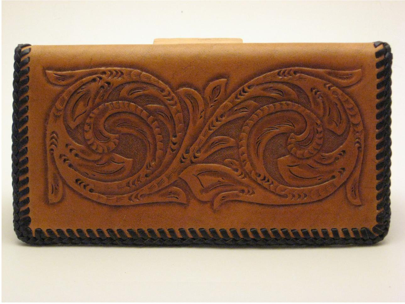 Checkbook Cover, Light Brown Finish, Brown Lacing, Handtooled Leather C0002