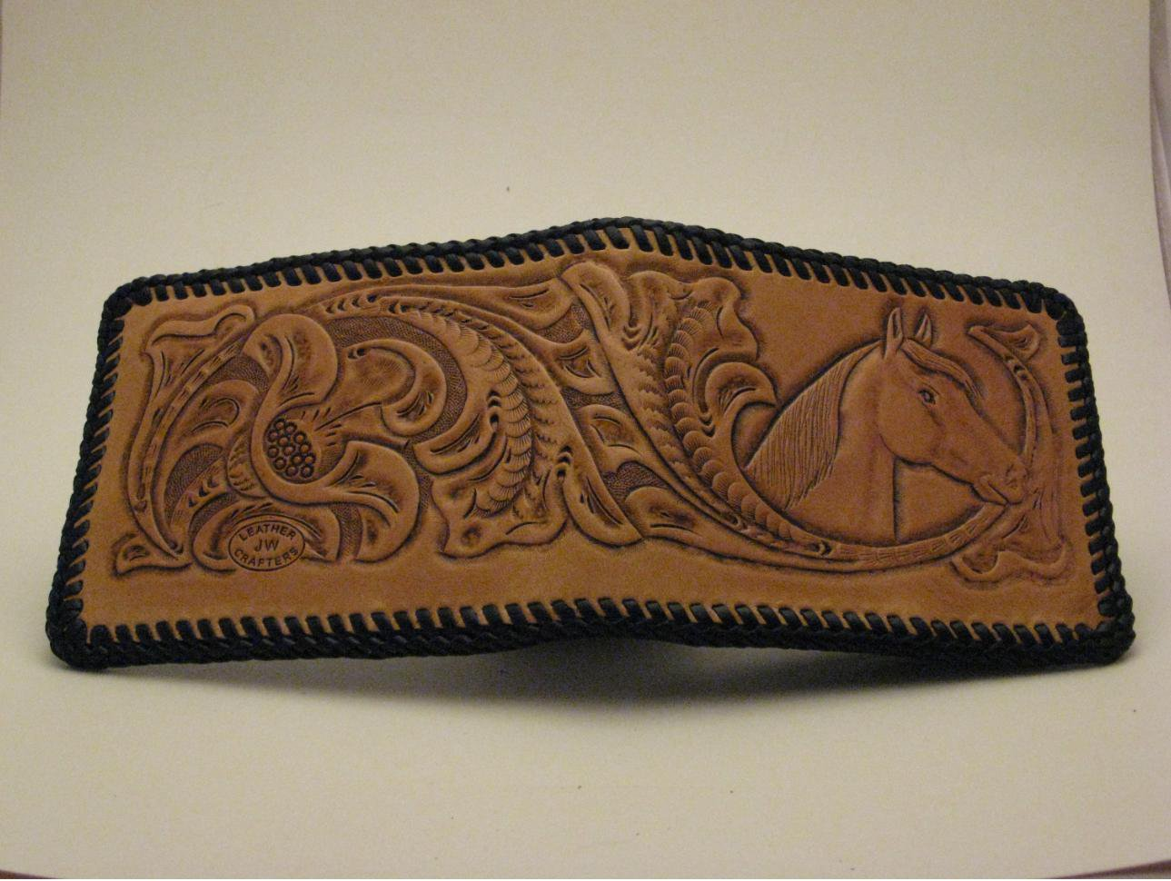 Men's Deluxe Wallet, Chestnut Tan, Black Lacing, Handtooled Leather, Western Floral, Horse W0004.1