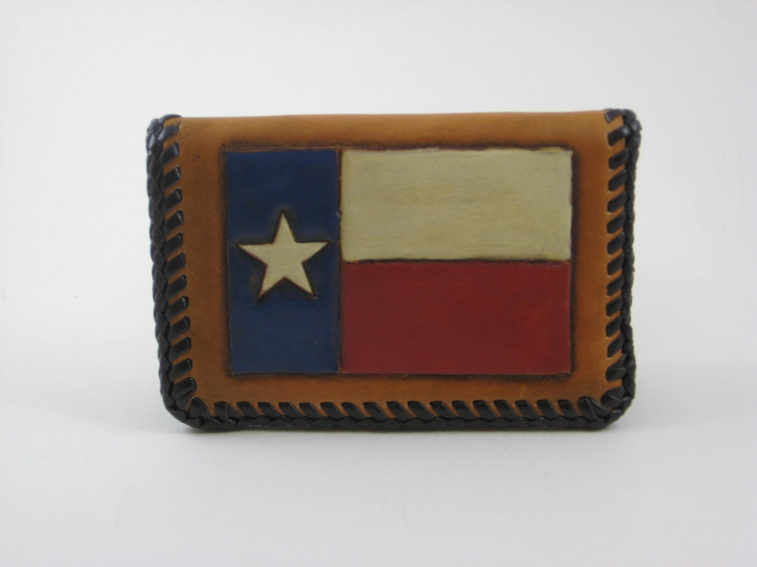 Business Card Case, Brown Lacing, Handtooled Leather, Texas Flag BC0001
